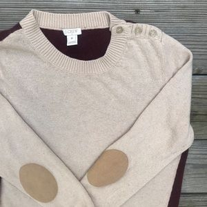 J Crew Beige & Maroon Elbow Patch Sweater